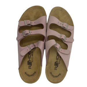 Rohde Light Pink Leather Wedge Sandals Silver Buckles EU 40